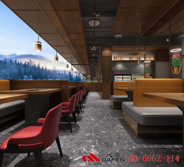 @烤肉桌椅,海鲜火锅桌椅,牛佳客卡座沙发由达芬家具标准订制400-6962-114