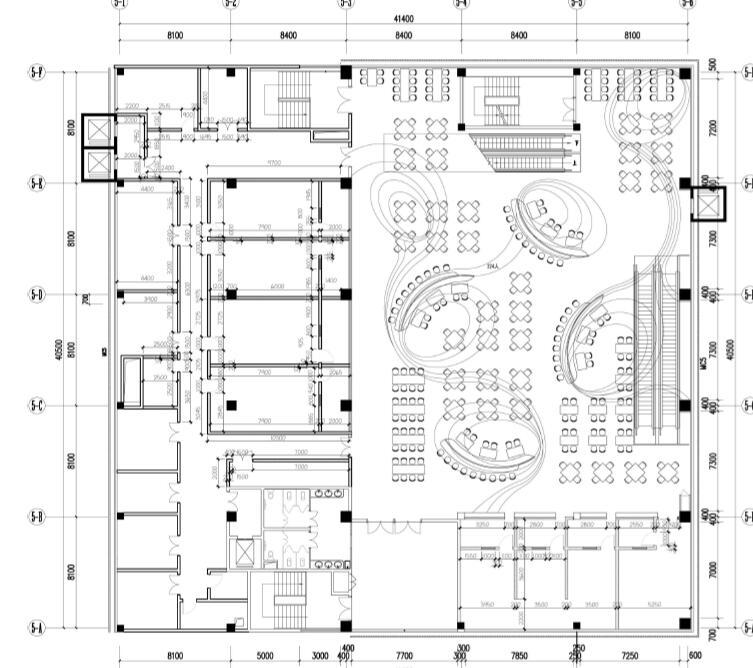 深圳哈尔滨工业大学内部食堂餐厅三层图纸