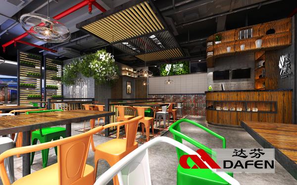 工业风餐厅卡座桌椅