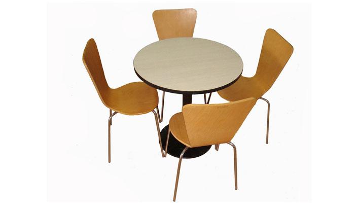 肯德基圆形桌弯板椅