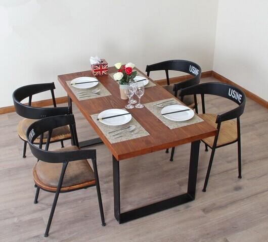 铁艺实木餐桌椅组合ZH002