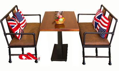 铁艺实木餐桌椅组合ZH003